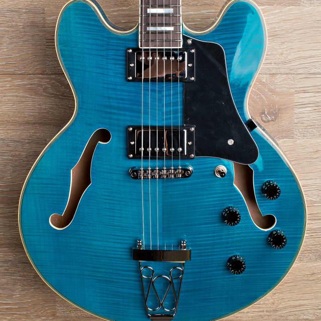 Wolf KSA50 Sky Blue Semi-Hollowbody (ES-335 style) Trapeze Electric Guitar image