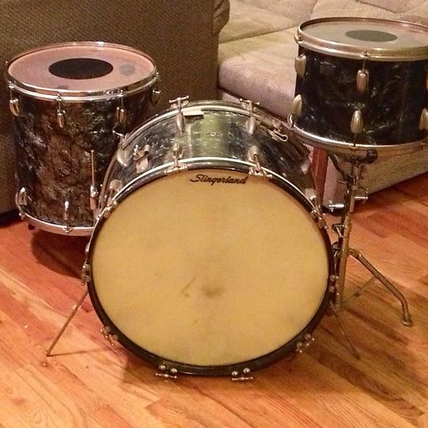 slingerland 13 16 22 vintage drum set 50s 60s black diamond reverb. Black Bedroom Furniture Sets. Home Design Ideas