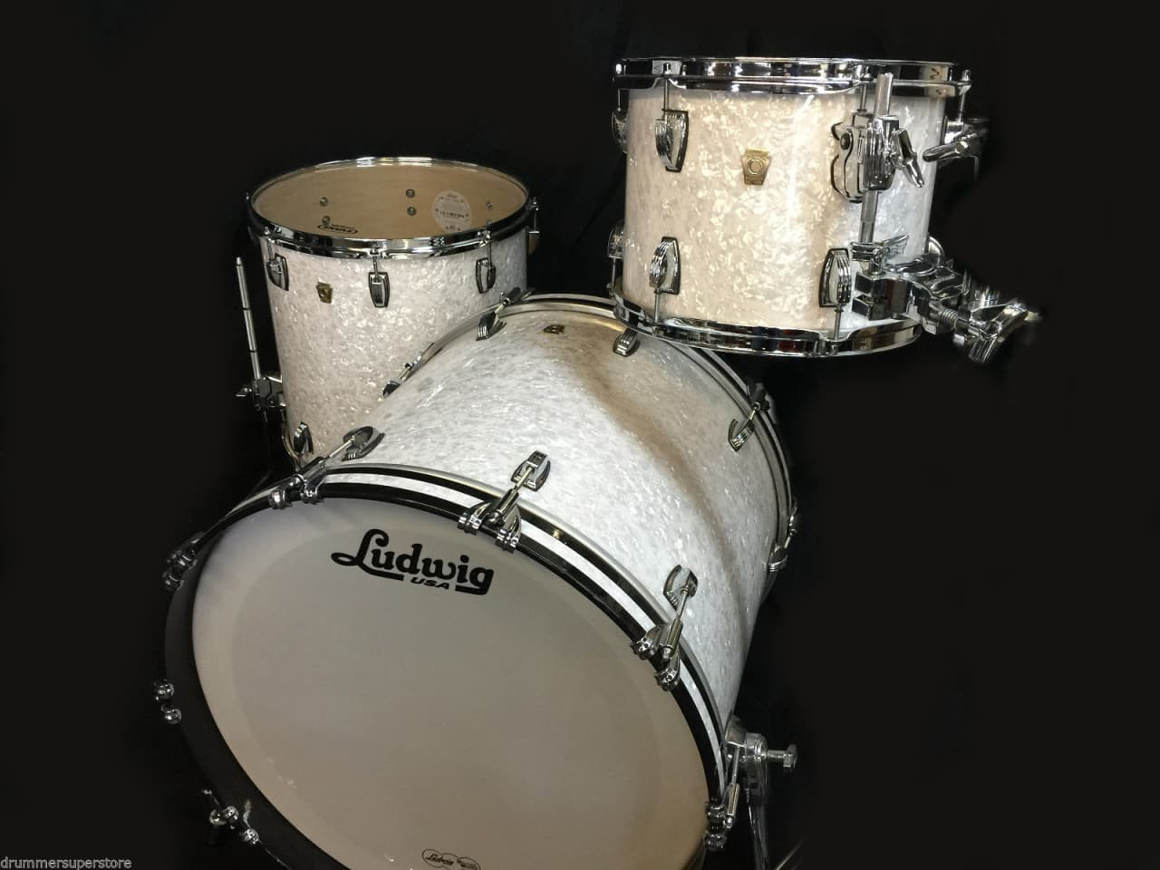 Ludwig classic maple white marine pearl 3pc drum set atlas for Classic house drums