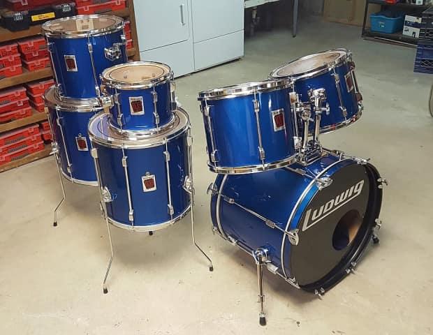 Ludwig 7 piece blue drum kit rare 18 floor tom reverb for 18 floor tom