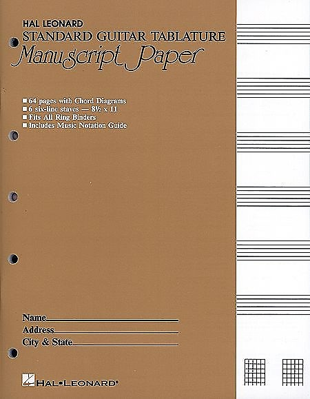 Guitar Tablature Manuscript Paper - Standard, Manuscript | Reverb