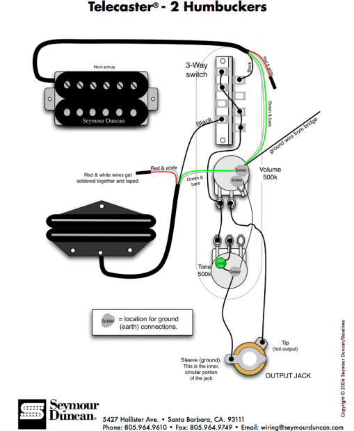 Fender Tele Telecaster 3 Way Wiring Harness 500k Long Shaft