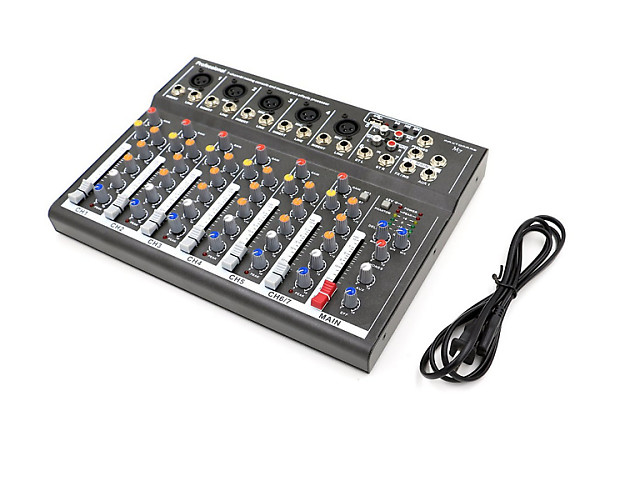 maxtomars m7 7 channel mixer with usb input mic line audio reverb. Black Bedroom Furniture Sets. Home Design Ideas