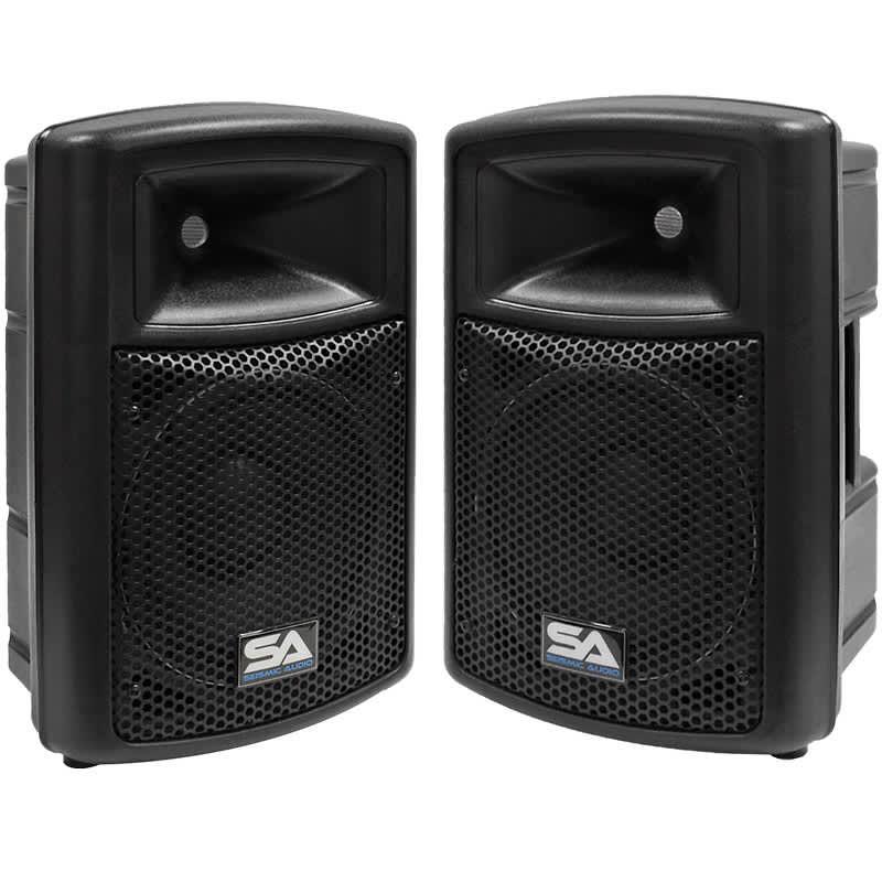 2 new seismic audio 10 powered pa dj speakers active reverb. Black Bedroom Furniture Sets. Home Design Ideas
