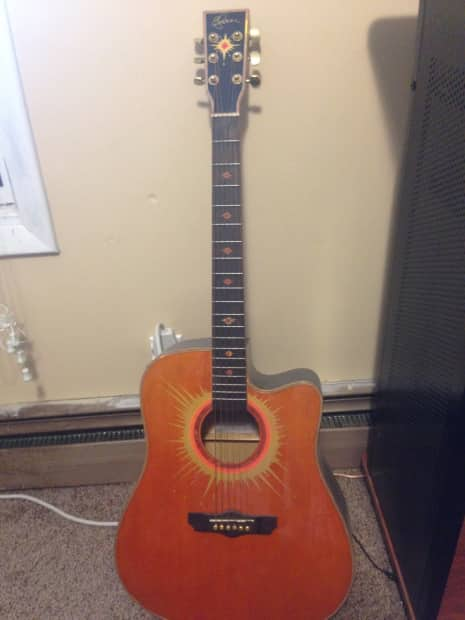 esteban acoustic electric guitar orange black reverb. Black Bedroom Furniture Sets. Home Design Ideas