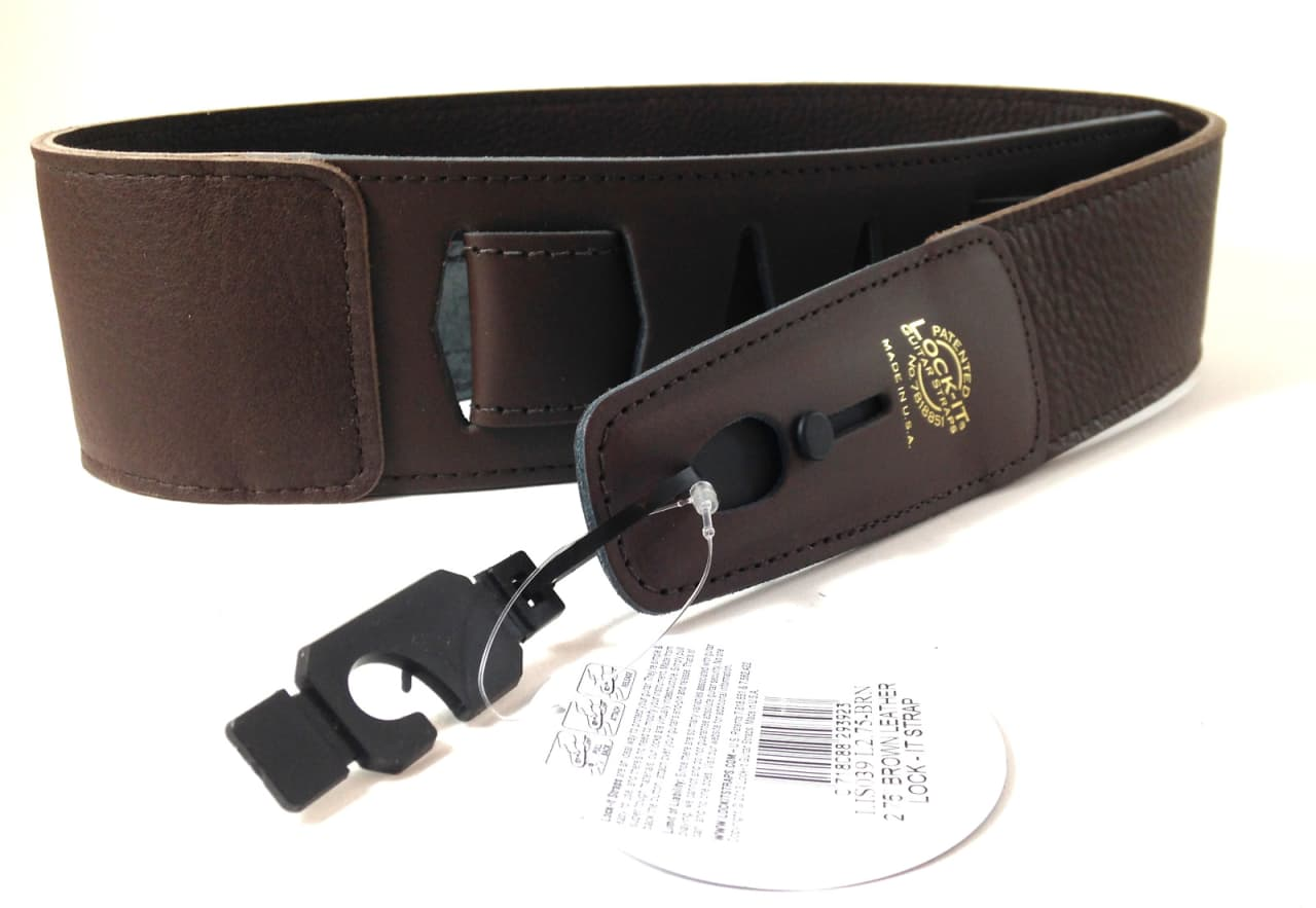 lock it guitar strap brown soft leather patented locking reverb. Black Bedroom Furniture Sets. Home Design Ideas