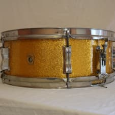 Ludwig 14x5 6 Lug Pioneer Snare Drum 1966 Gold Sparkle image