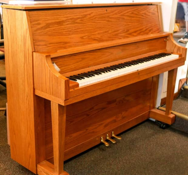 used boston up118s studio piano oak w bench reverb. Black Bedroom Furniture Sets. Home Design Ideas