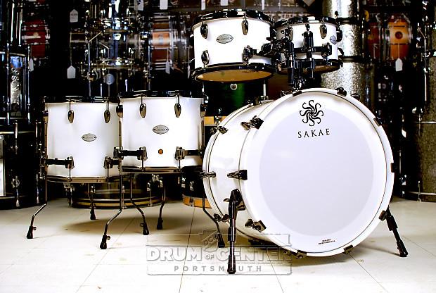 Sakae celestial 5pc drum set shell pack pearl white w for 14x12 floor tom