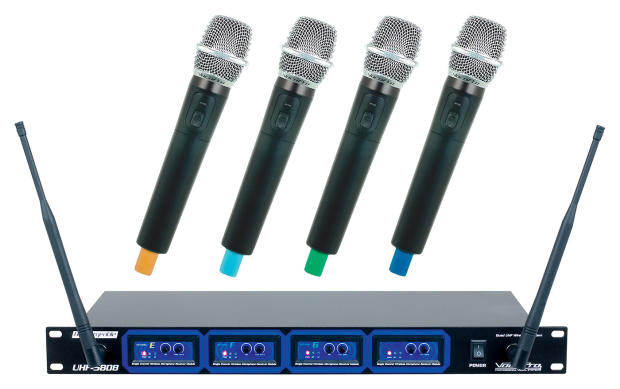 vocopro 4 uhf rechargeable wireless microphone system reverb. Black Bedroom Furniture Sets. Home Design Ideas