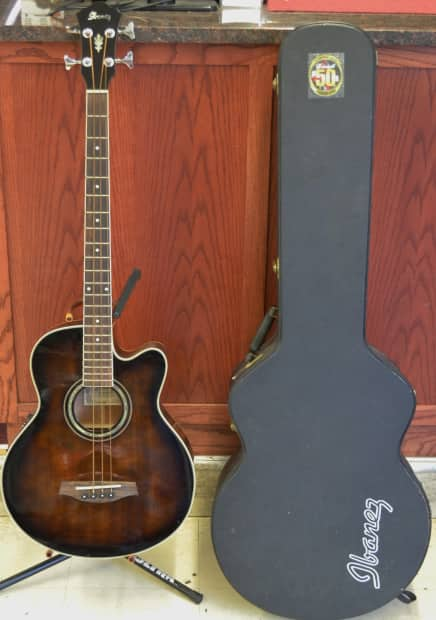 ibanez aeb10e 4 string acoustic electric bass guitar with reverb. Black Bedroom Furniture Sets. Home Design Ideas