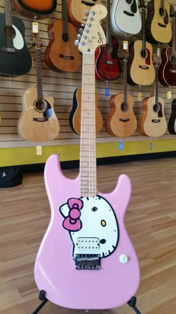 squier by fender rare hello kitty electric guitar pink reverb. Black Bedroom Furniture Sets. Home Design Ideas