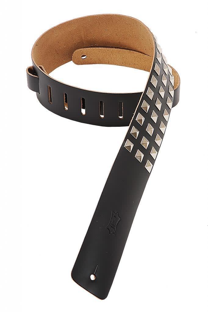 levy 39 s guitar strap 2 1 2 39 leather metal studs m1sd blk reverb. Black Bedroom Furniture Sets. Home Design Ideas