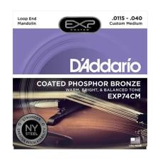 Daddario 11.5 40 Custom Medium Mandolin Exp Coated Phosphor Bronze Strings image