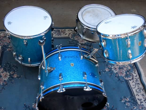 1958 1959 Ludwig Classic Blue Sparkle Drum Kit Reverb