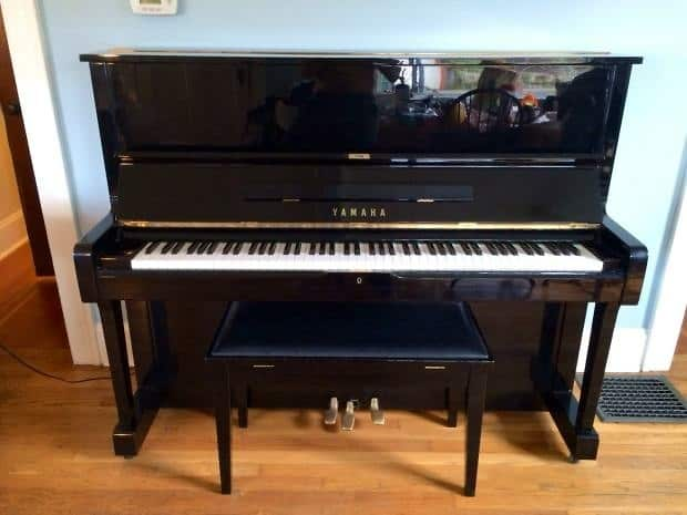 Yamaha u1 upright grand piano 1980 black original vintage for Yamaha upright piano models