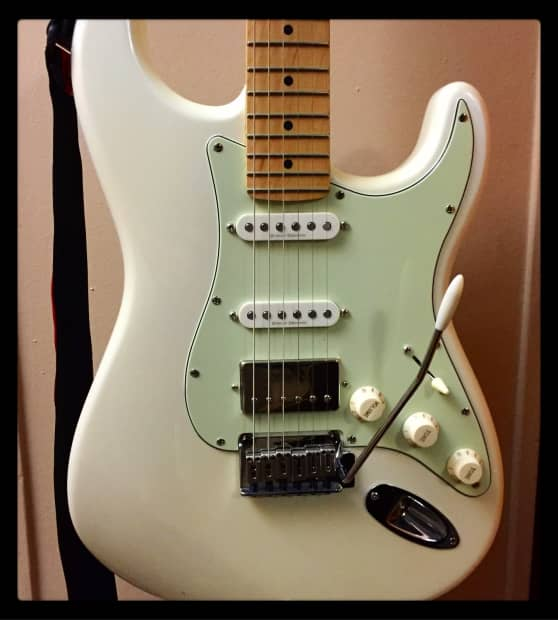 squier deluxe stratocaster hss w upgrades 2013 white pearl reverb. Black Bedroom Furniture Sets. Home Design Ideas