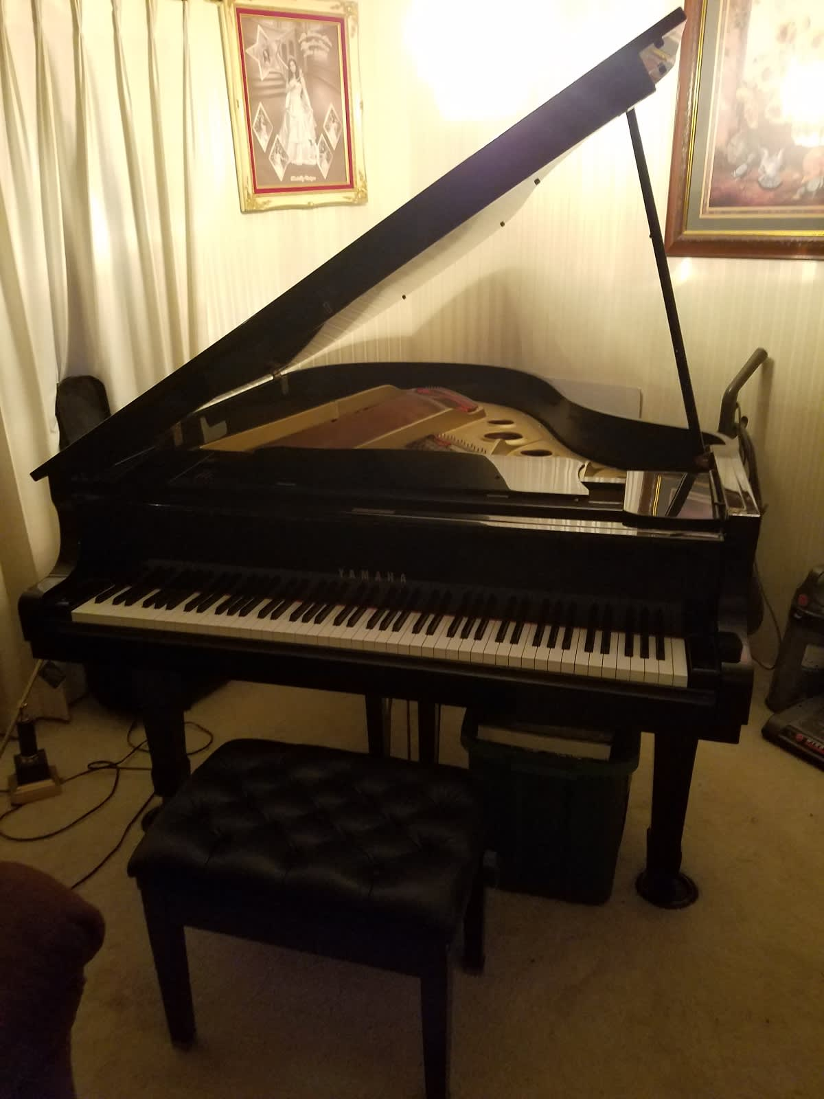 yamaha g3 1982 grand piano polished ebony finish reverb