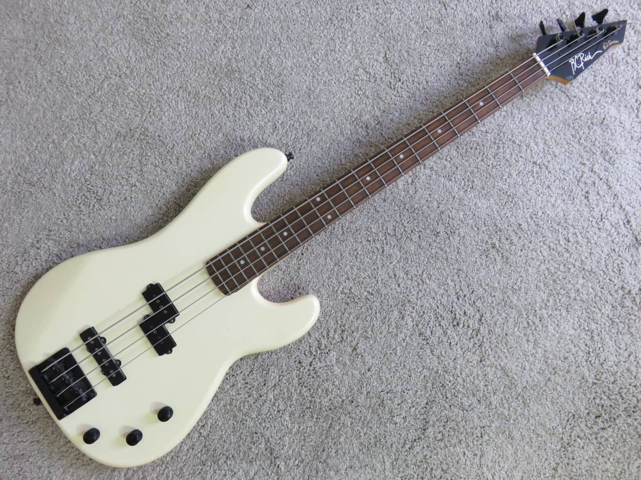 1980s BC Rich NJ Series P Bass White Badass Bridge Clean