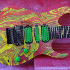 1990 Ibanez Universe UV77MC Steve Vai 7-string Guitar OHSC Case Candy image