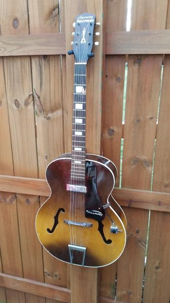 1958 harmony hollywood archtop electric guitar with hershey bar pickup reverb. Black Bedroom Furniture Sets. Home Design Ideas