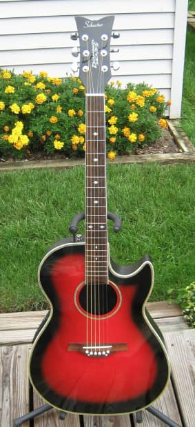 schecter diamond series red burst acoustic electric guitar reverb. Black Bedroom Furniture Sets. Home Design Ideas