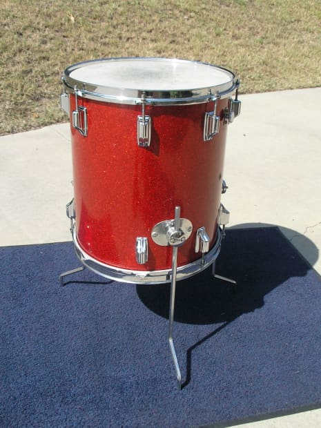 Vintage rogers red sparkle holiday floor tom 14 w x 16 d for 16 x 14 floor tom