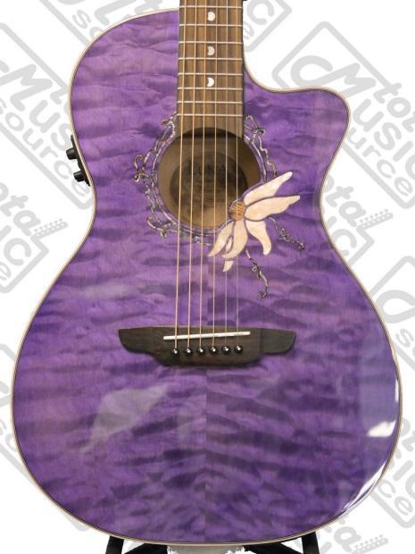 luna flora passionflower acoustic electric guitar w foamcore case flo pf qm reverb. Black Bedroom Furniture Sets. Home Design Ideas