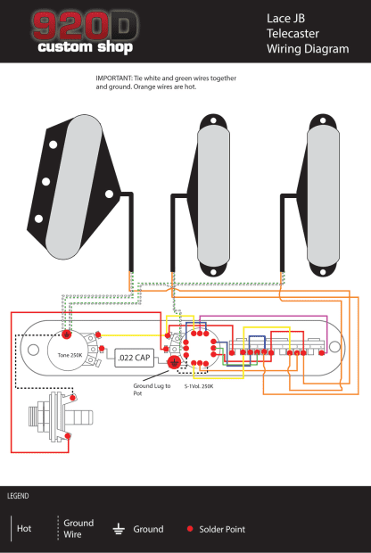 Lace Sensor Wiring Diagram Telecaster : Fender tele telecaster loaded pre wired pickguard lace