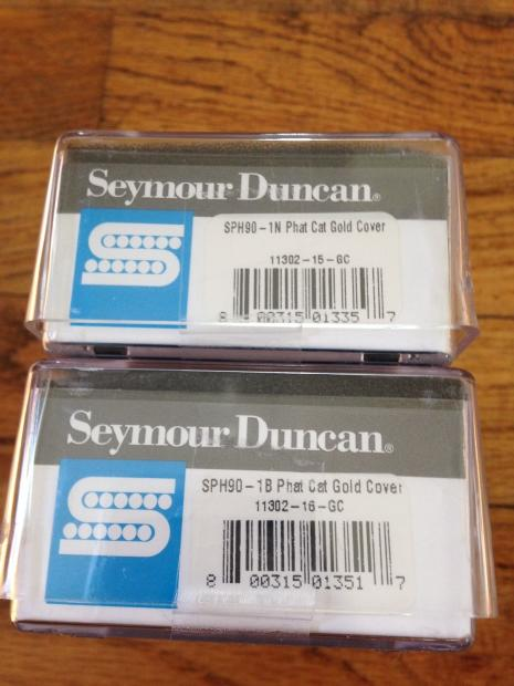 seymour duncan phat cat pickup set p90 in humbucker size sph90 1 gold covers new reverb. Black Bedroom Furniture Sets. Home Design Ideas
