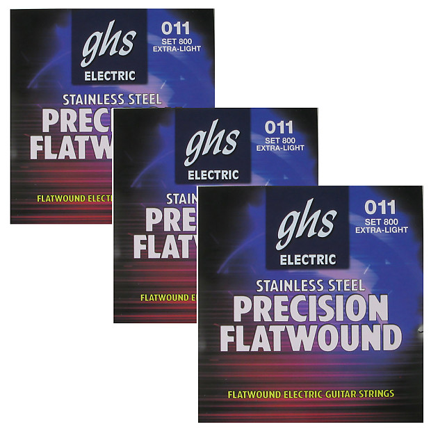 3 sets of ghs 800 precision flatwound extra light electric reverb. Black Bedroom Furniture Sets. Home Design Ideas