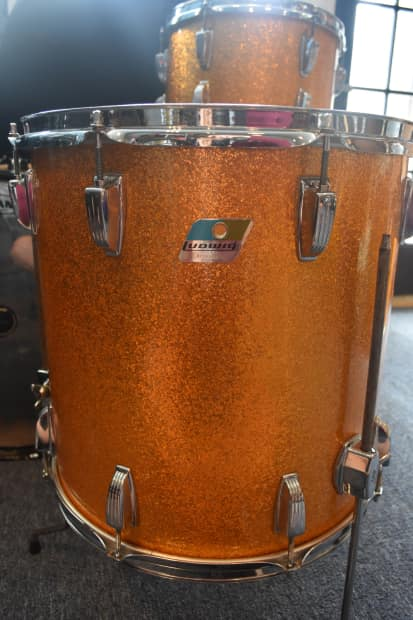 Ludwig Blue Olive Badge 1970 S Gold Sparkle 3 Piece Drum