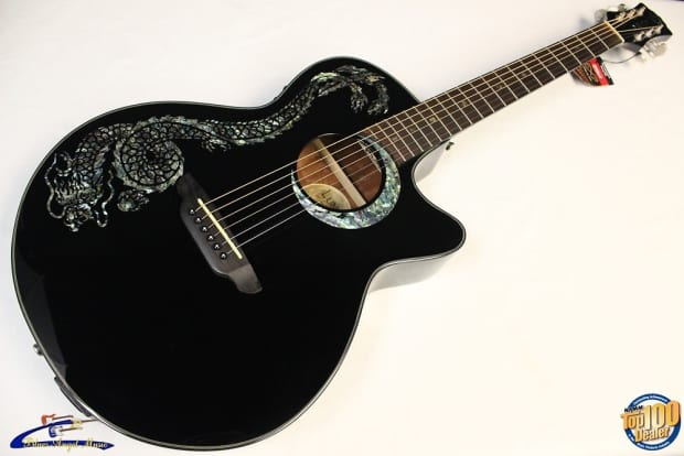 luna fauna dragon folk acoustic electric guitar brand new reverb. Black Bedroom Furniture Sets. Home Design Ideas