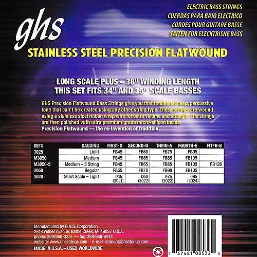 ghs 3050 stainless steel flatwound regular 55 105 bass guitar reverb. Black Bedroom Furniture Sets. Home Design Ideas