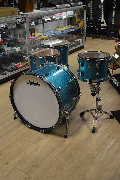 Teal Sparkle Usa Ludwig Classic Maple 3 Piece Set 24 12 16