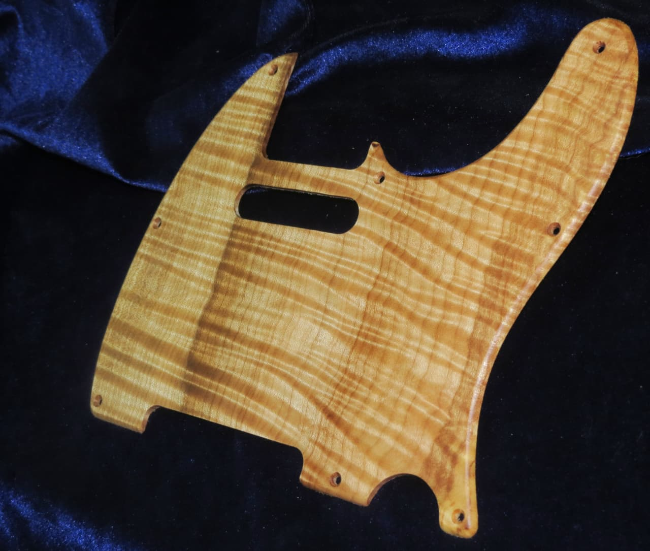 guitar f hole template - highly flamed spalted maple telecaster pickguard