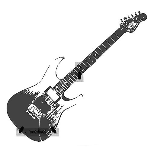 Black Finish Angled Hang Em High Guitar Wall Hanger For