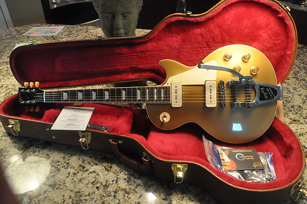2014 gibson les paul traditional gold top w p90 39 s bigsby reverb. Black Bedroom Furniture Sets. Home Design Ideas