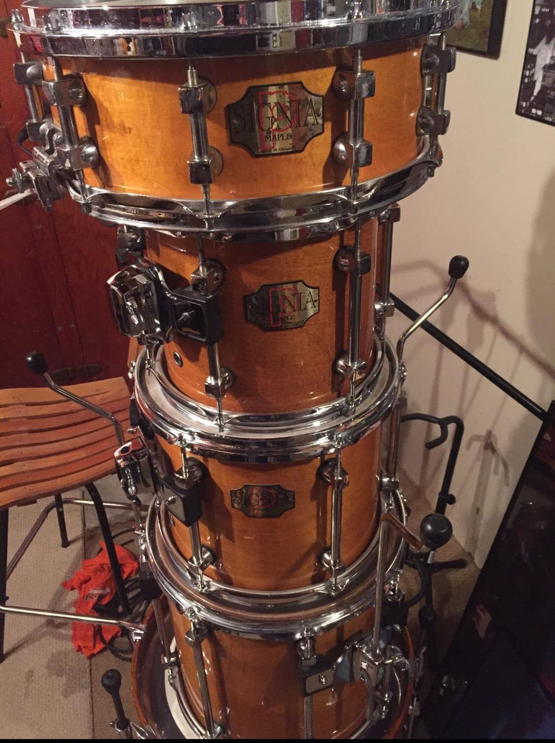 Premier bop drum drumset 18x16 bass signia 90s maple reverb for 18 inch floor tom for sale