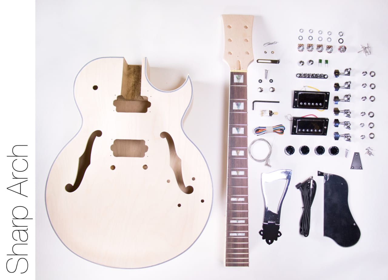 do it yourself diy electric guitar kit jazz style with reverb. Black Bedroom Furniture Sets. Home Design Ideas