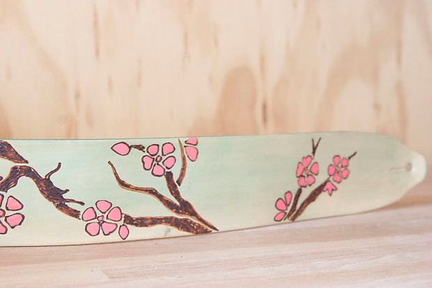 Leather Guitar Strap Cherry Blossom Pattern By Moxie