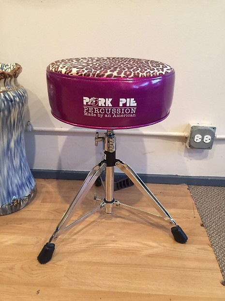pork pie drum throne purple sparkle w leopard skin top reverb. Black Bedroom Furniture Sets. Home Design Ideas