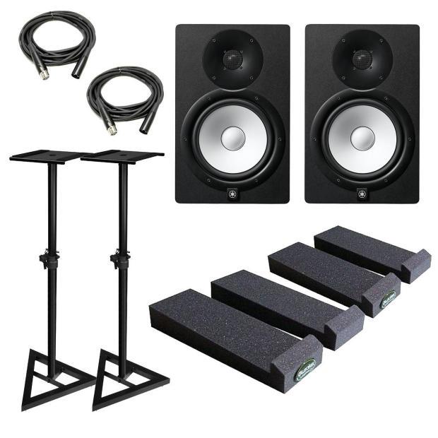 Yamaha hs8 powered studio monitor pair with auralex mopads for Yamaha hs8 studio monitor speakers