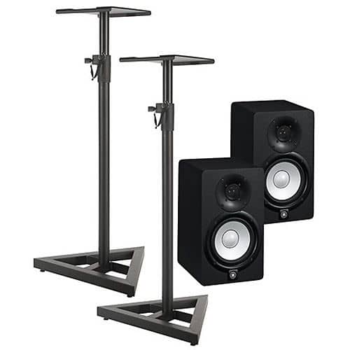 Yamaha hs5 hs 5 powered studio monitors w free ultimate for Yamaha hs5 speaker stands