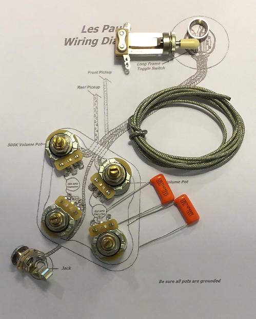 TAOT Les Paul reg Wiring Kit Short Shaft CTS 500K Pots 450G