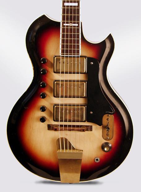 national model 1104 town country solid body electric guitar 1960 ser t 29446 black hard. Black Bedroom Furniture Sets. Home Design Ideas