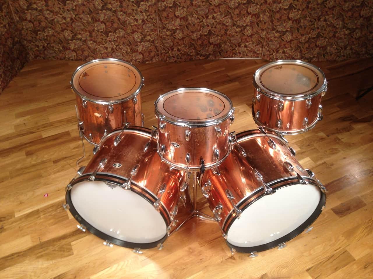 slingerland vintage copper over wood 5 piece drumkit reverb. Black Bedroom Furniture Sets. Home Design Ideas