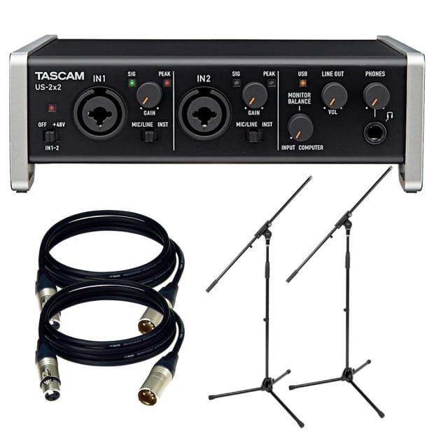 tascam us 2x2 usb 2 0 audio midi interface w xlr cable and reverb. Black Bedroom Furniture Sets. Home Design Ideas