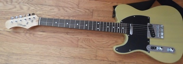 stagg yellow telecaster near mint lefty left handed electric reverb. Black Bedroom Furniture Sets. Home Design Ideas