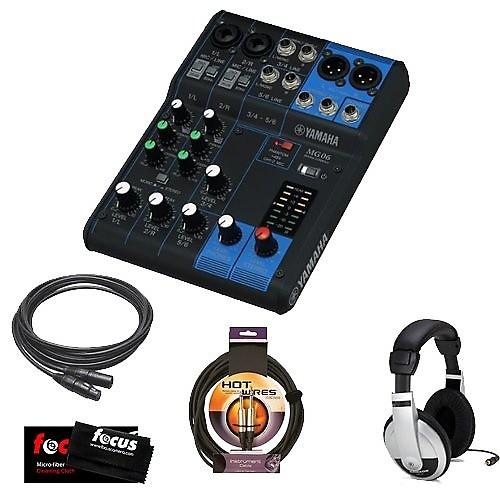 Yamaha mg06 stereo mixer with xlr xlr female to male mic for Yamaha mg10xu usb cable